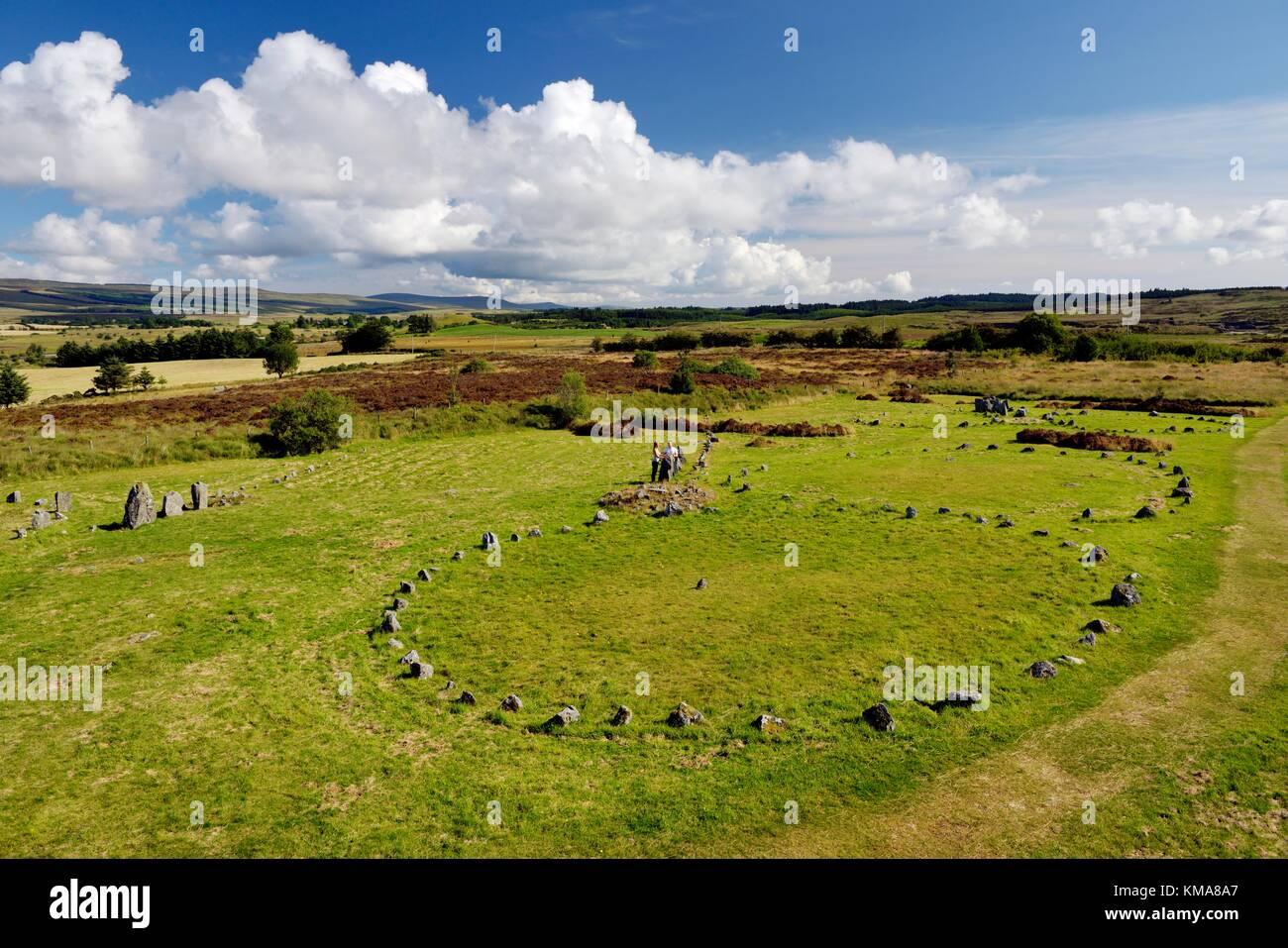 Les cercles de pierre préhistoriques Beaghmore alignements alignement cercle. Montagnes Sperrin, Co Tyrone, Photo Stock