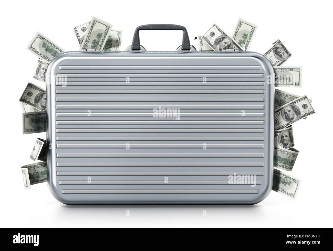 Porte-documents à l'intérieur des pieux dollar isolé sur fond blanc. 3d illustration. Photo Stock