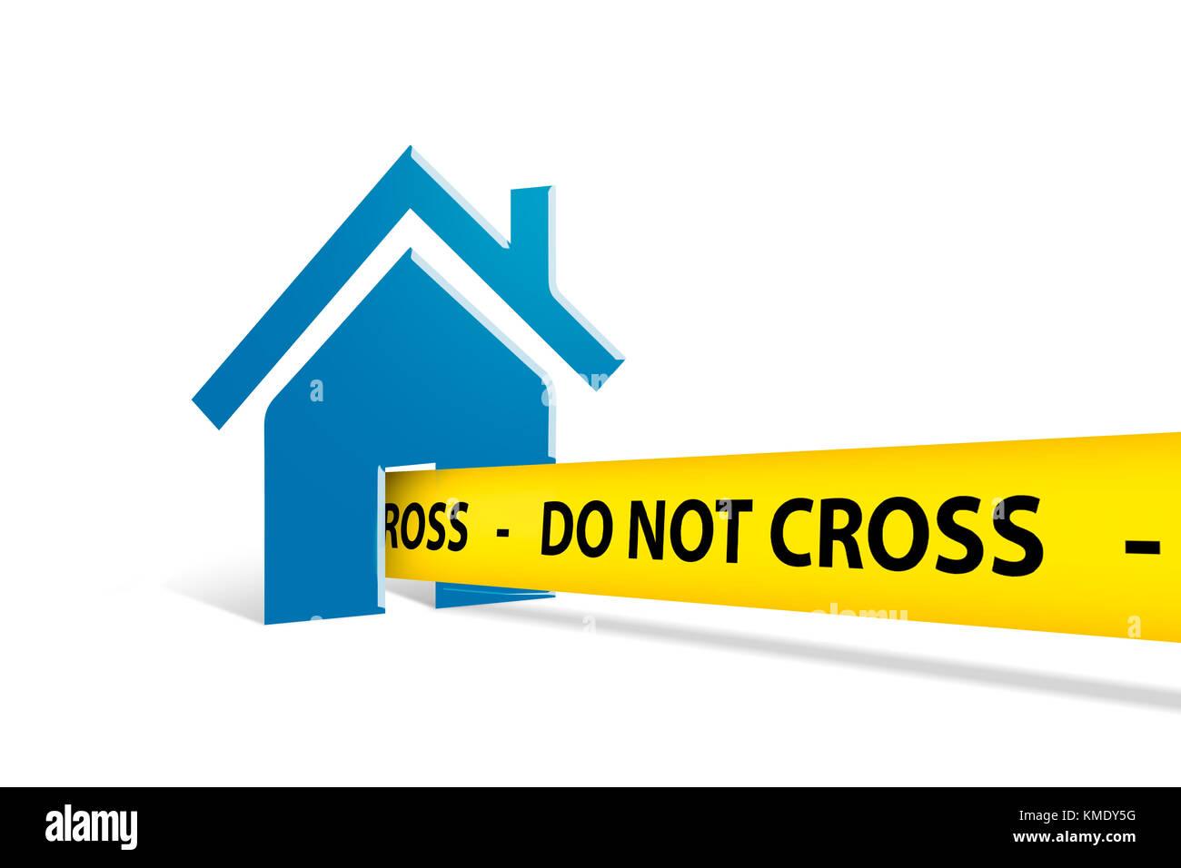 Chambre bleue avec l'icône d'illustration ne franchissent pas jaune bande police sortir de la maison, isolé sur fond blanc. Banque D'Images