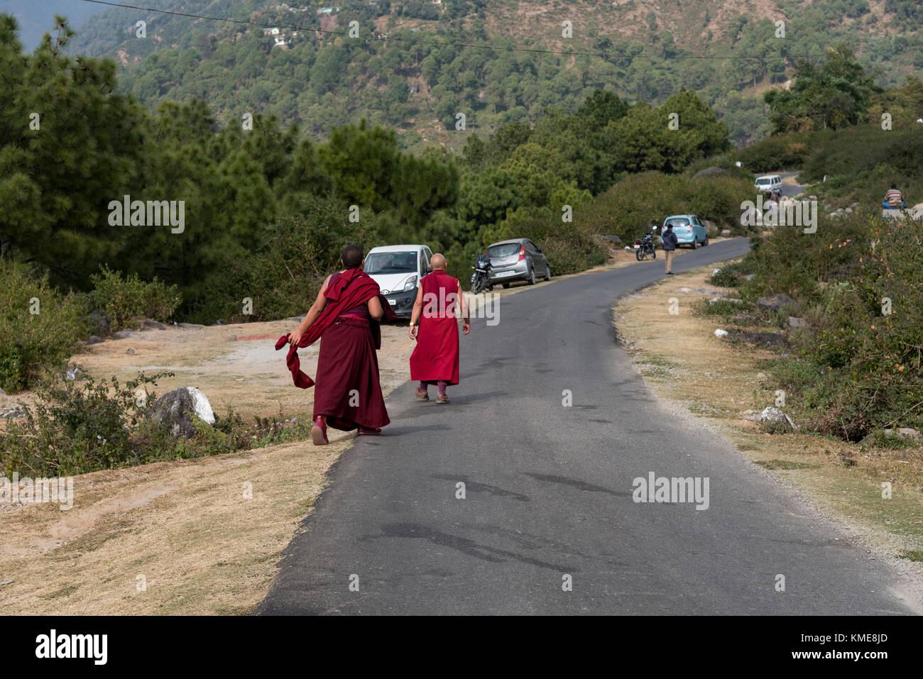 Deux moines marchant le long de la route dans une zone rurale sur le chemin de leur monastère. Photo Stock