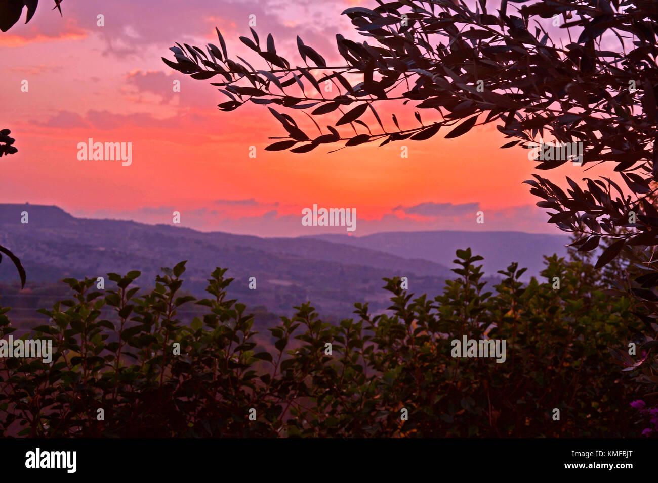 Un stunnig paphos panoramique coucher du soleil, Paphos Chypre renouned pour ses couchers de soleil Photo Stock