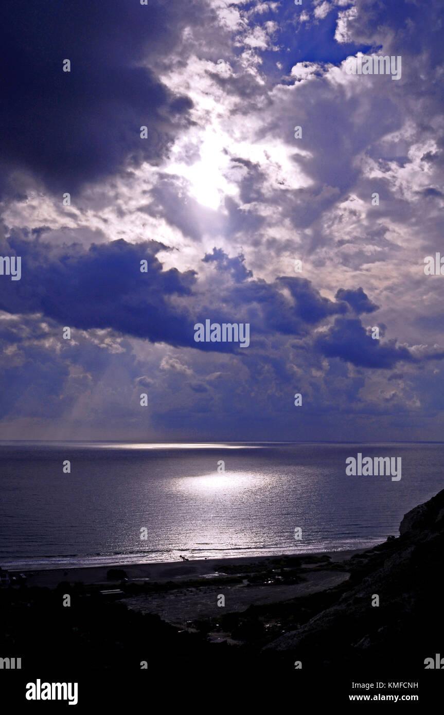 Un stunnig coucher de Paphos, Paphos Chypre renouned pour ses couchers de soleil Photo Stock