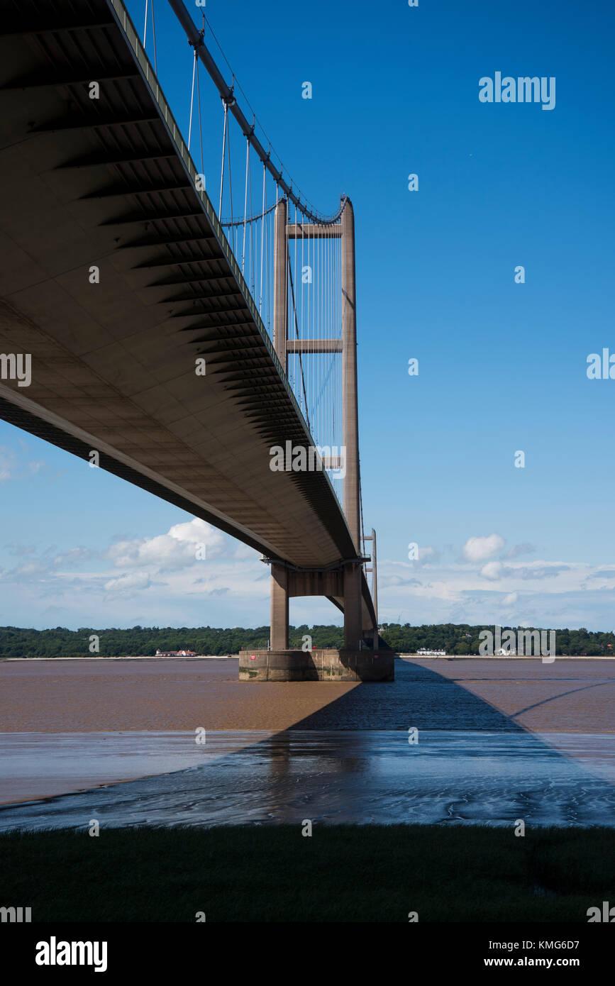 Le Humber Bridge, rivière Humber, England, UK. Banque D'Images