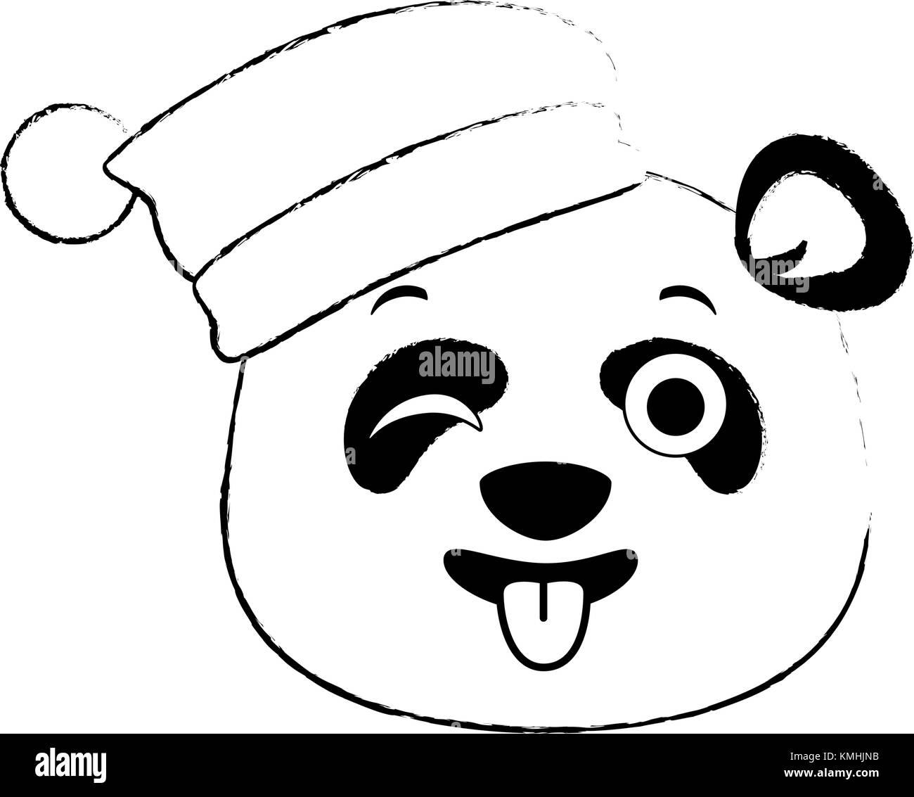Panda mignon kawaii emoji fou Illustration de Vecteur