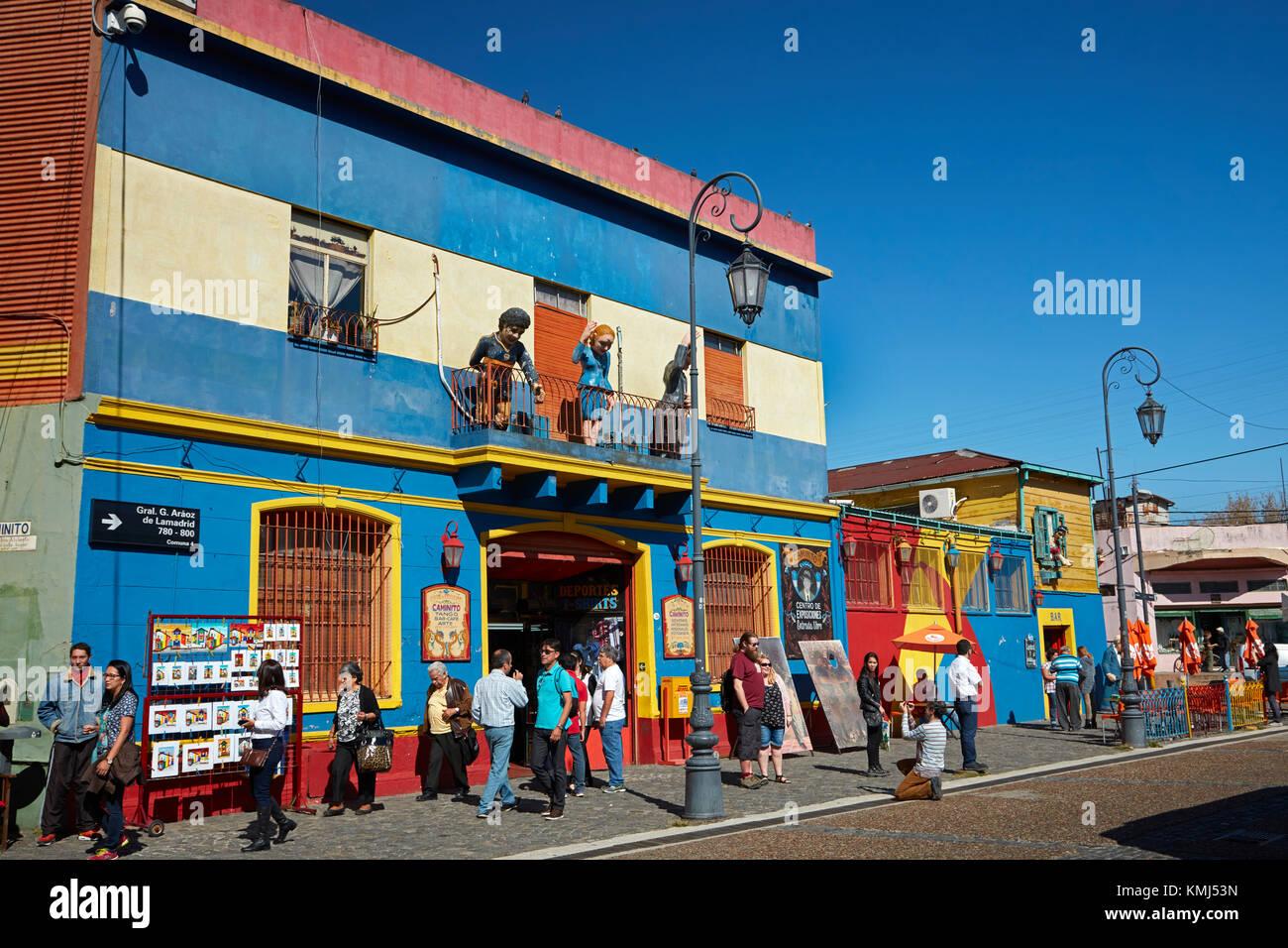 Les touristes et les magasins de souvenirs, la Boca, Buenos Aires, Argentine, Amérique du Sud Photo Stock