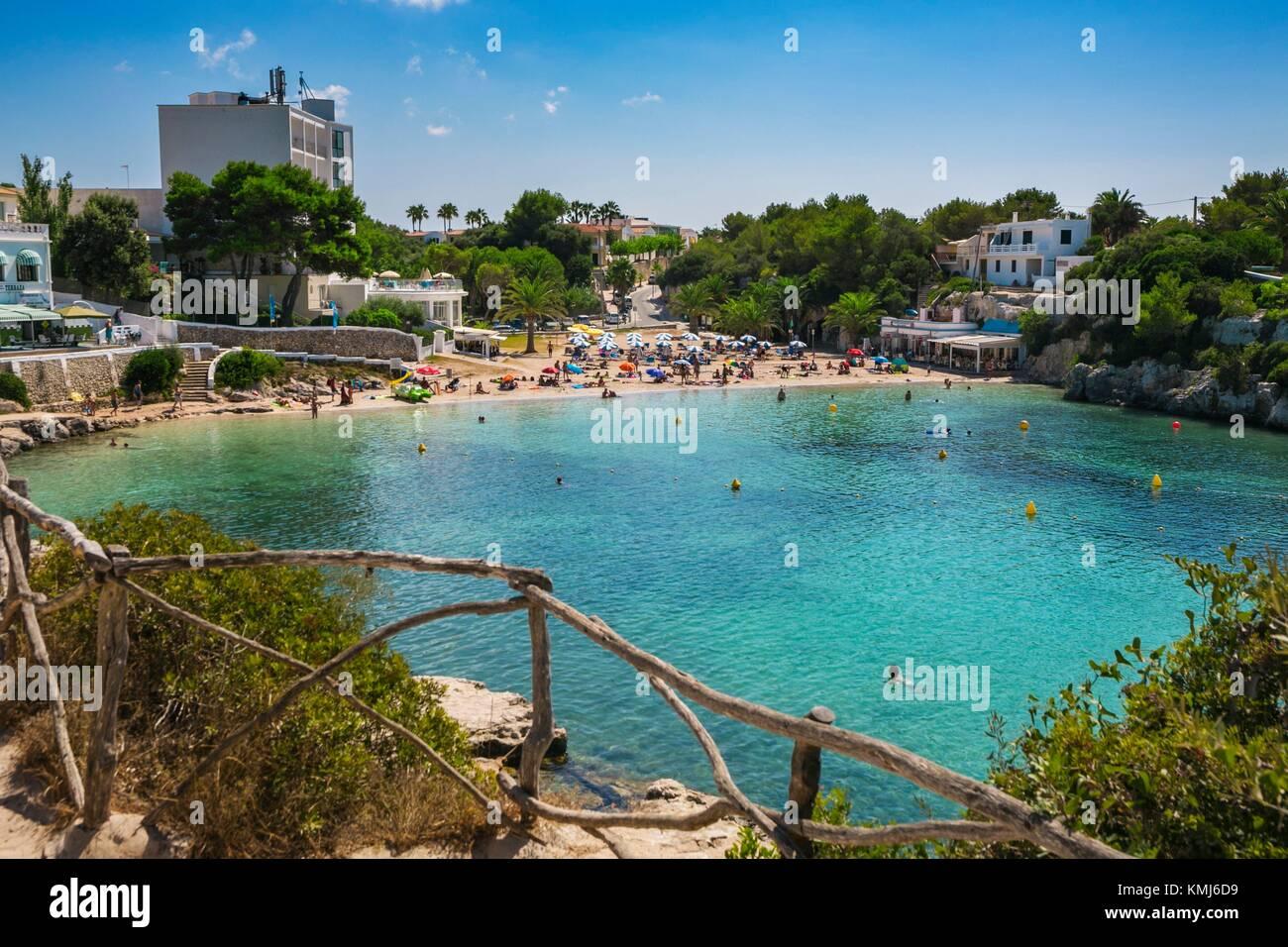La plage de Cala Blanca. Ciutadella de Menorca Municipalité. Minorque. Îles Baléares. Espagne Photo Stock