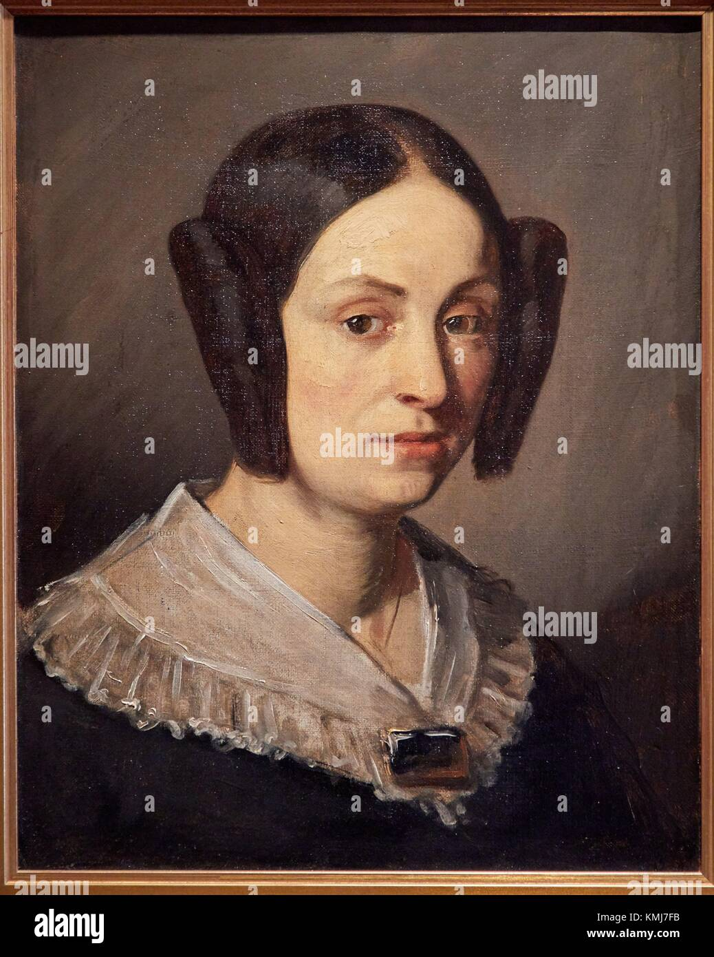Portrait d'Augustine Fournerie, née Doré, 1840, Jean-François Millet, Musée d'Art Moderne, Photo Stock