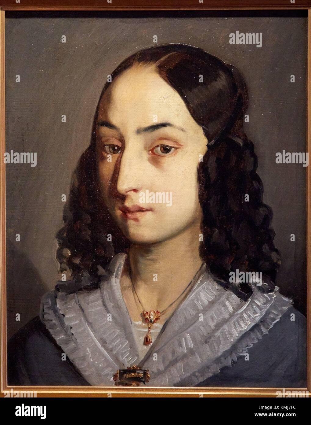 Portrait de Jeanne Doré,1840, Jean-François Millet, Musée d'Art Moderne, Troyes, Champagne-Ardenne, Photo Stock