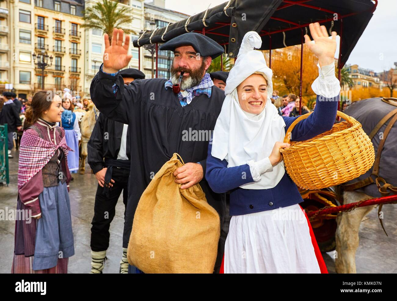 Olentzero et Mari Domingi, Noël, Donostia, San Sebastian, Gipuzkoa, Pays Basque, Espagne, Europe Photo Stock