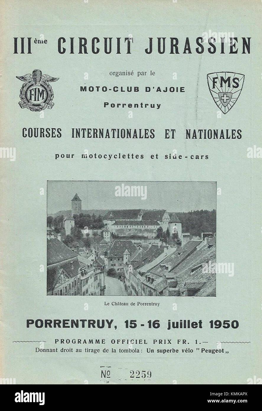 Circuit de Porrentruy 1950 Banque D'Images