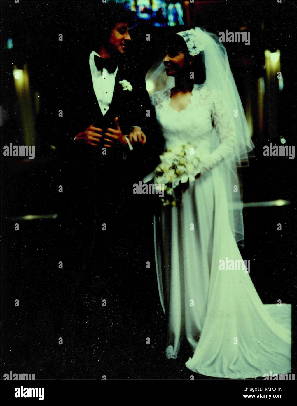 Sylvester Stallone et Talia Shire dans le film Rocky, 1976 Photo Stock