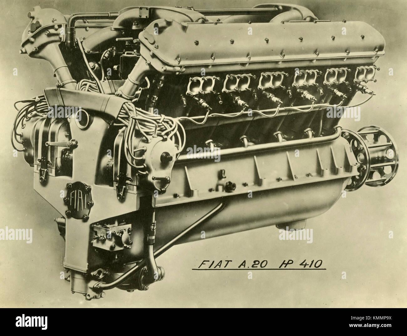 Moteur FIAT A.20 de l'aviation 410 HP, Italie 1920 Photo Stock