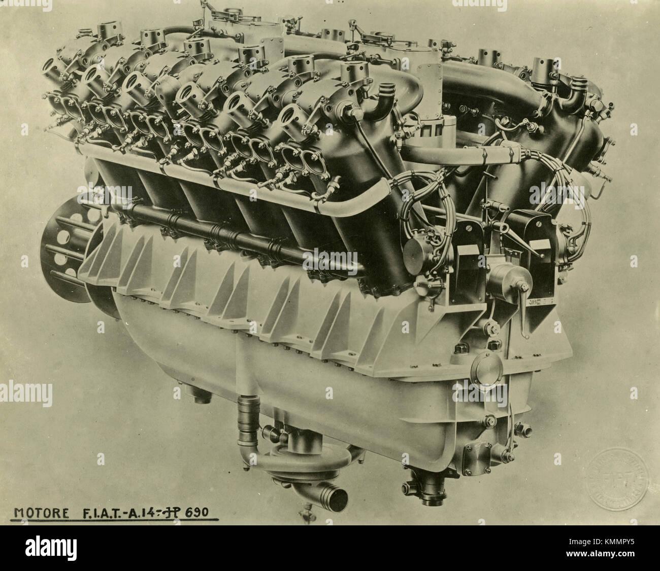 L'aviation d'un moteur Fiat 14 hp.690, Italie 1920 Photo Stock