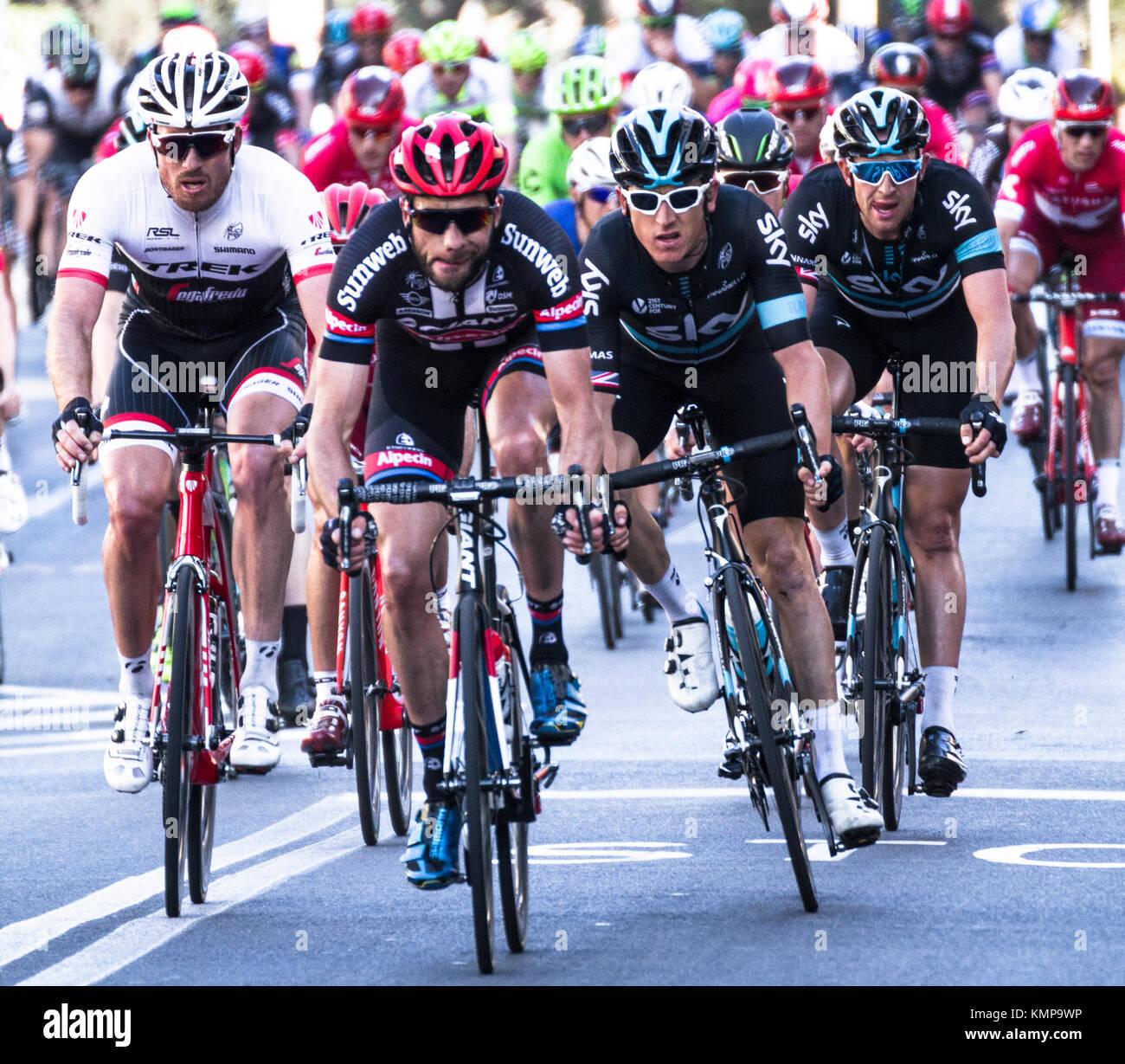 Imperia, IM, Ligurie, Italie - 20 mars 2016: Une course cycliste importante dans une petite ville en Italie Photo Stock