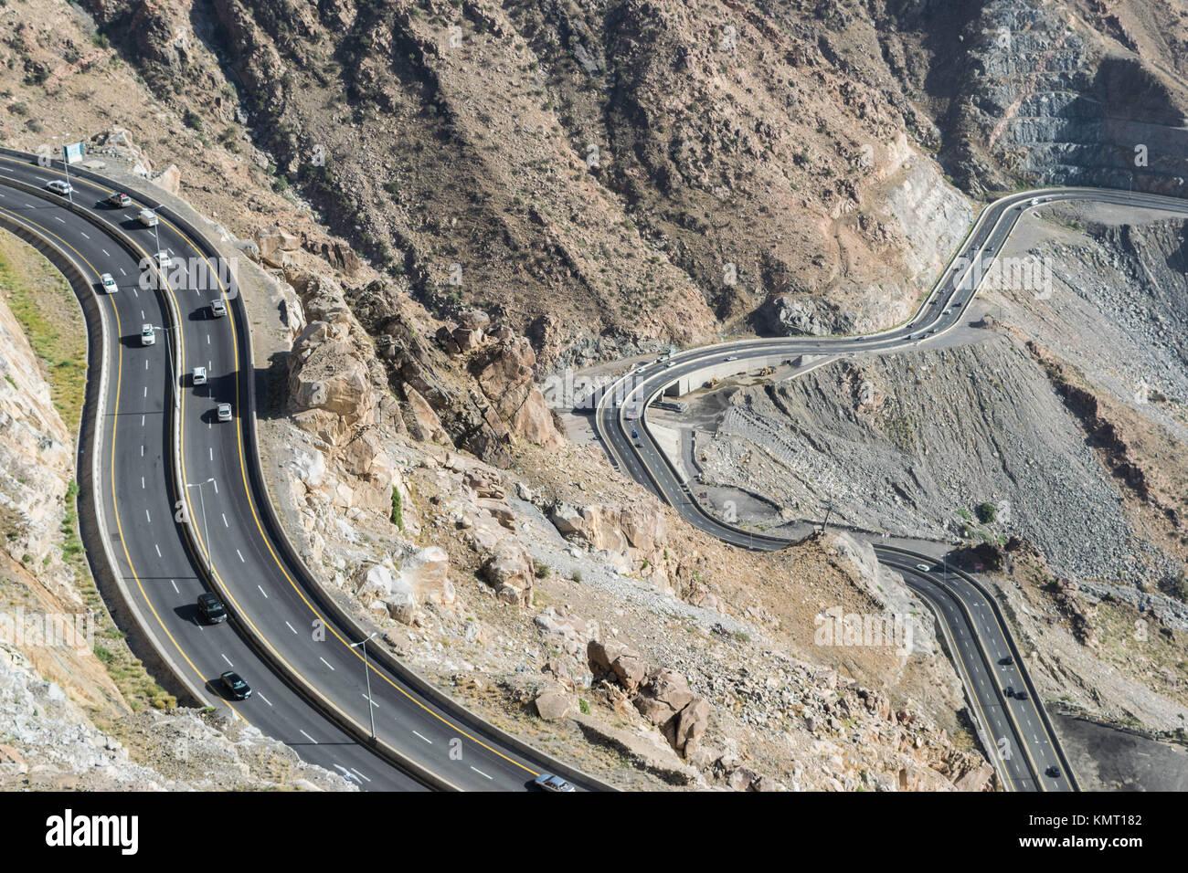 Al Hada dans la montagne Ville de Taëf (Arabie saoudite) avec belle vue sur montagnes et Al Hada Road entre Photo Stock