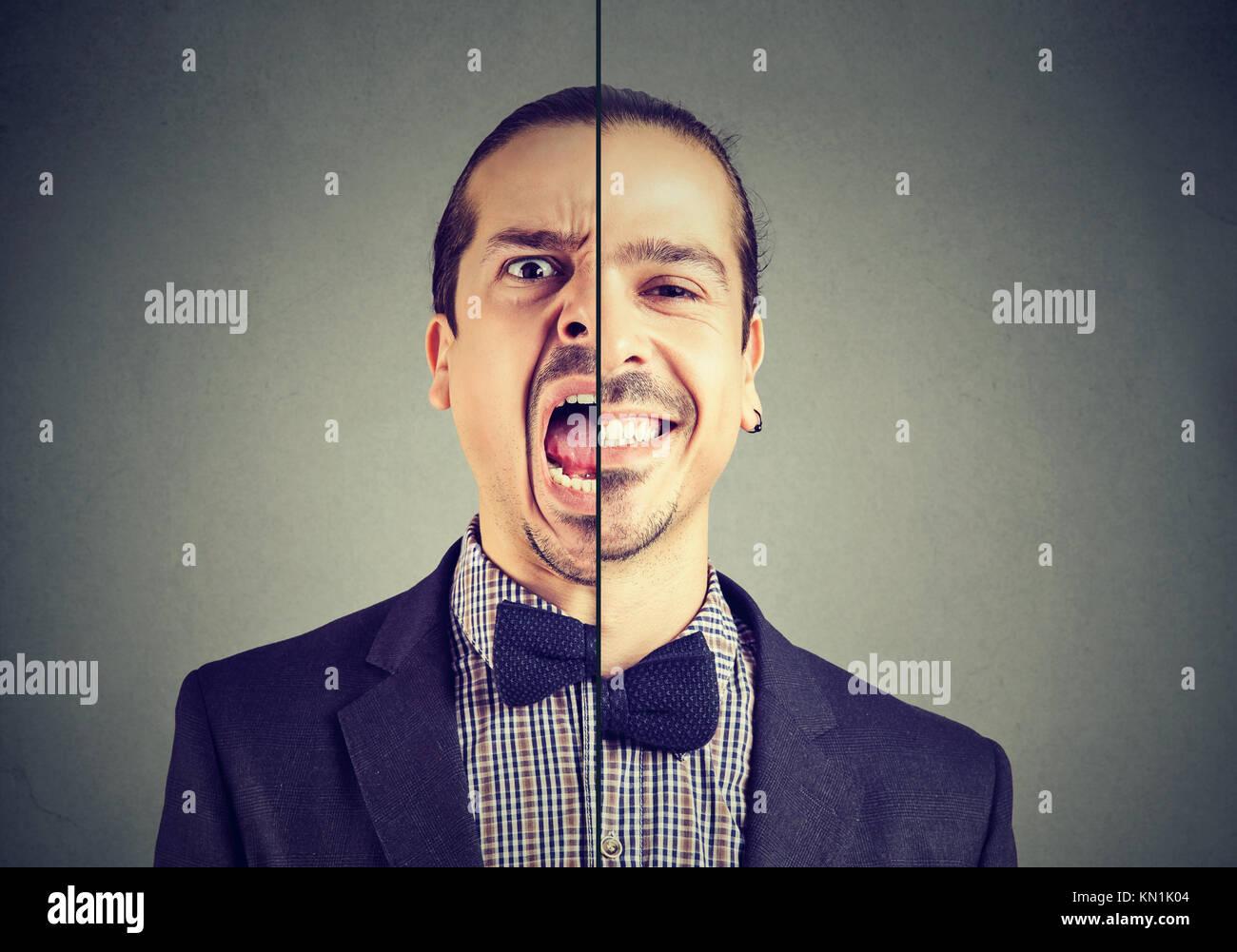 Concept de trouble bipolaire. Jeune homme d'affaires avec l'expression double face isolé sur fond gris Photo Stock