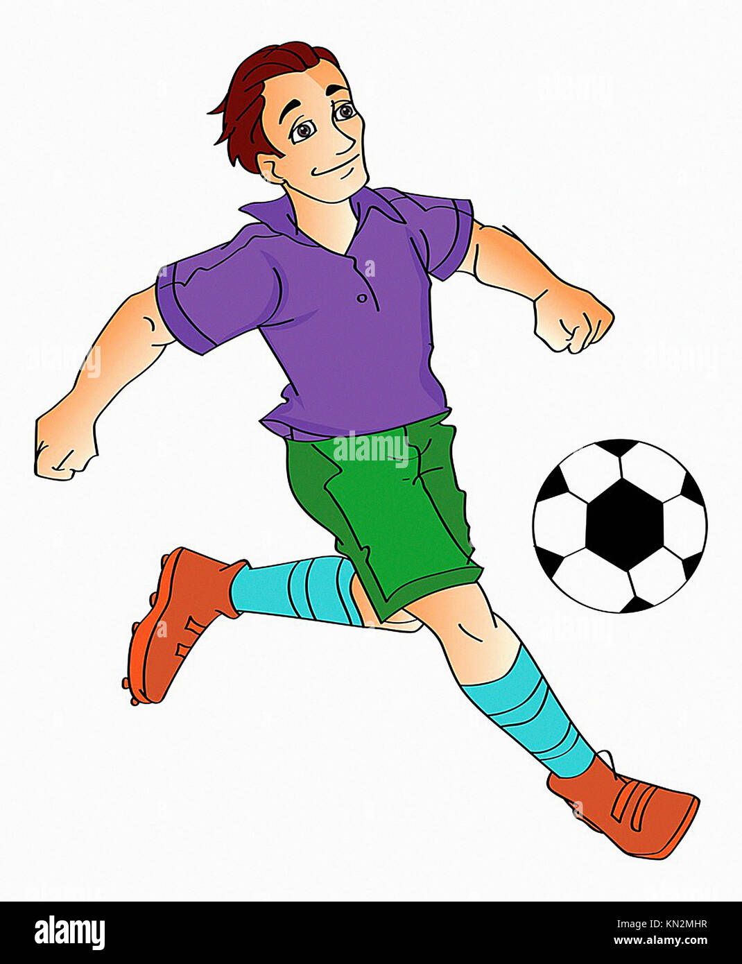 Jeune homme jouant au football, vector illustration Photo Stock