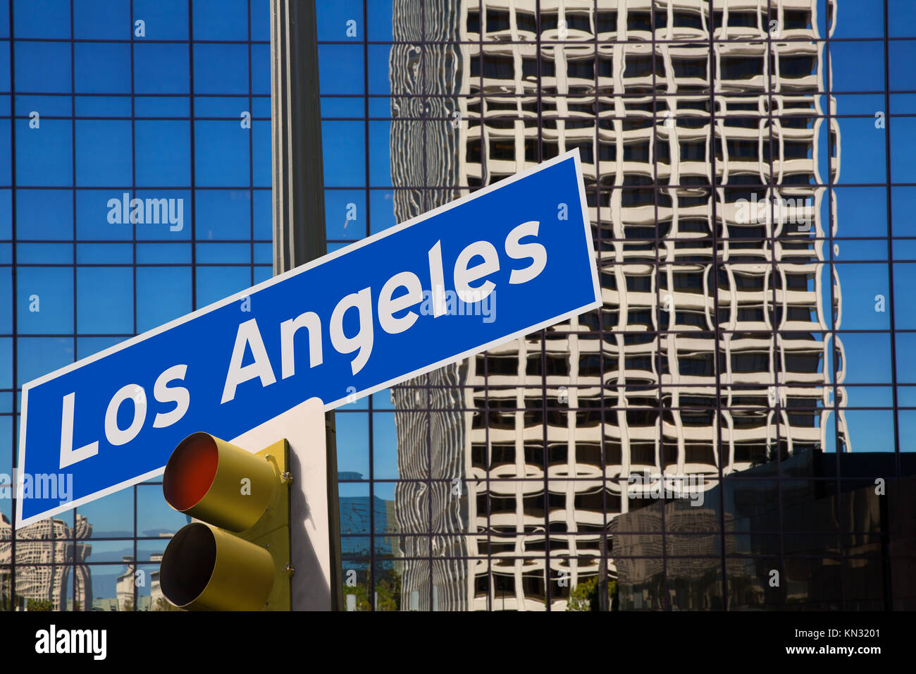 LA Los Angeles downtown wit road sign digital composite de redlight. Banque D'Images