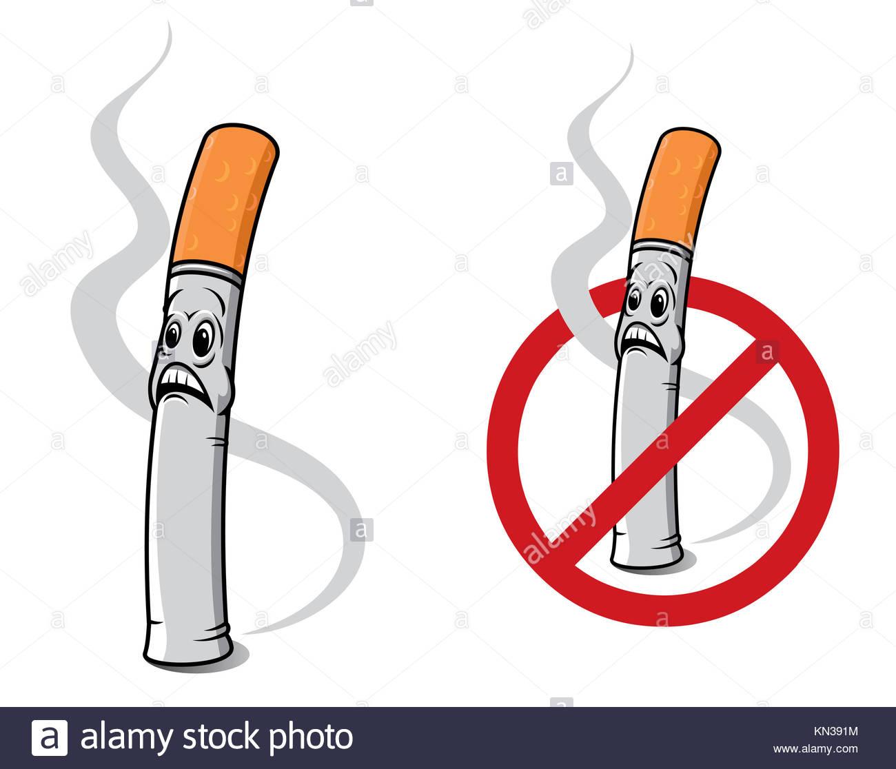 Cigarette Caricature caricature de l'interdiction de fumer la cigarette pour signer