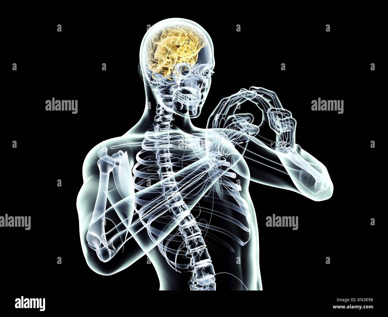 Puissance de l'esprit. Rendu 3D illustration. Isolé sur le noir. Photo Stock