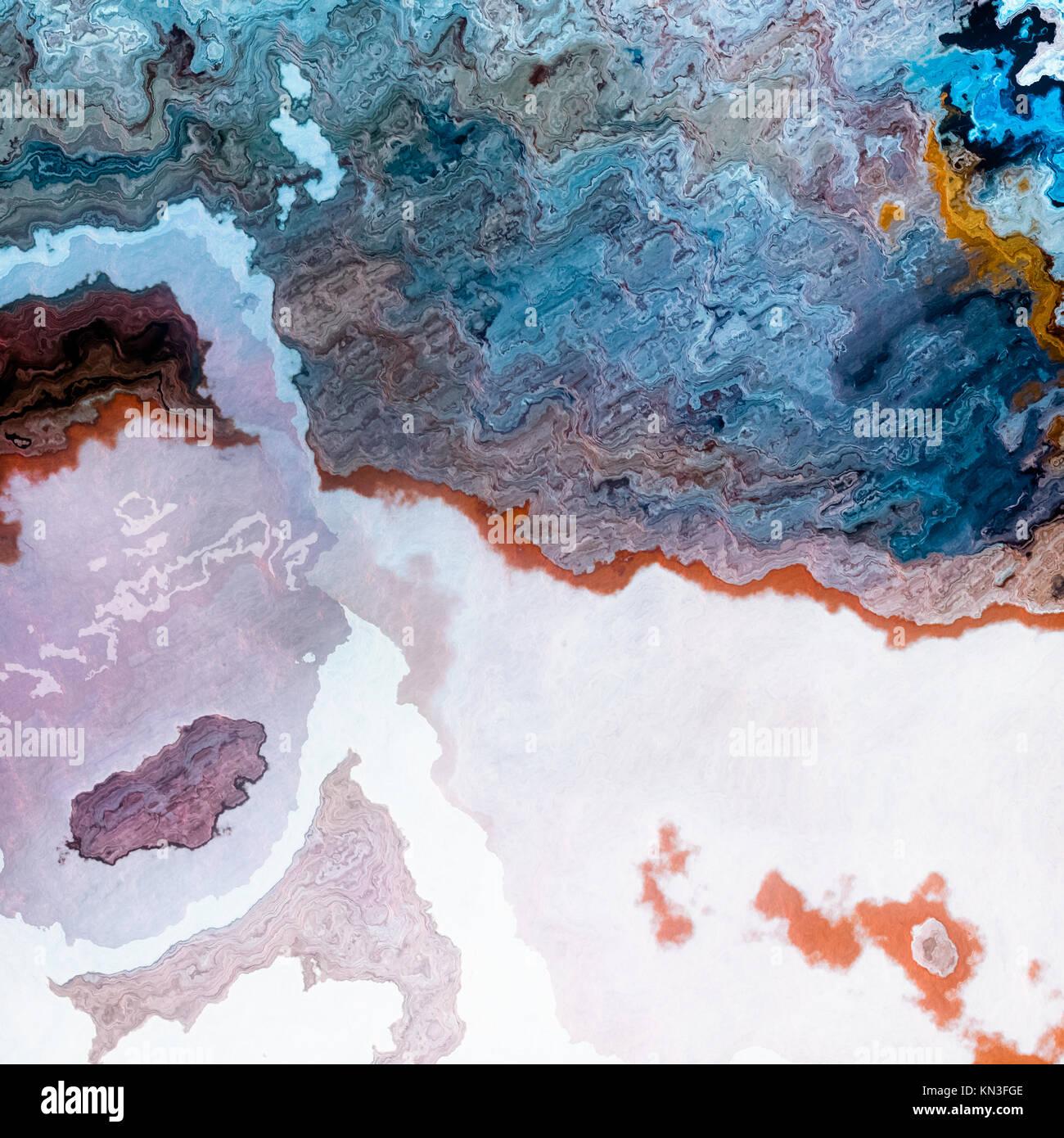 Couches minérales artificielles comme le mélange de lait et de café bleu, résumé fond illustration Photo Stock