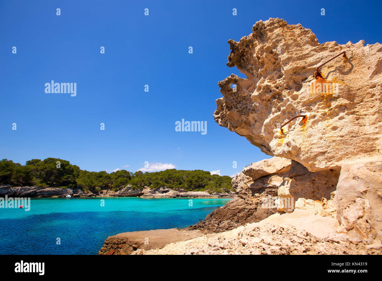 Menorca Cala en Turqueta Ciutadella Méditerranée turquoise à îles Baléares. Photo Stock