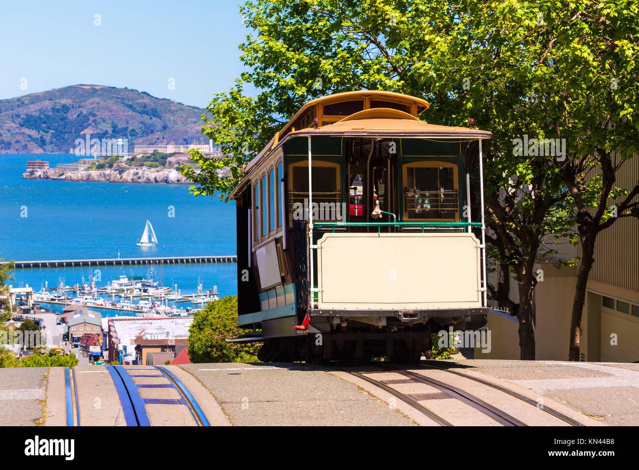 Hyde Street San Francisco Cable Car le tram de la Powell-Hyde en Californie, États-Unis. Photo Stock