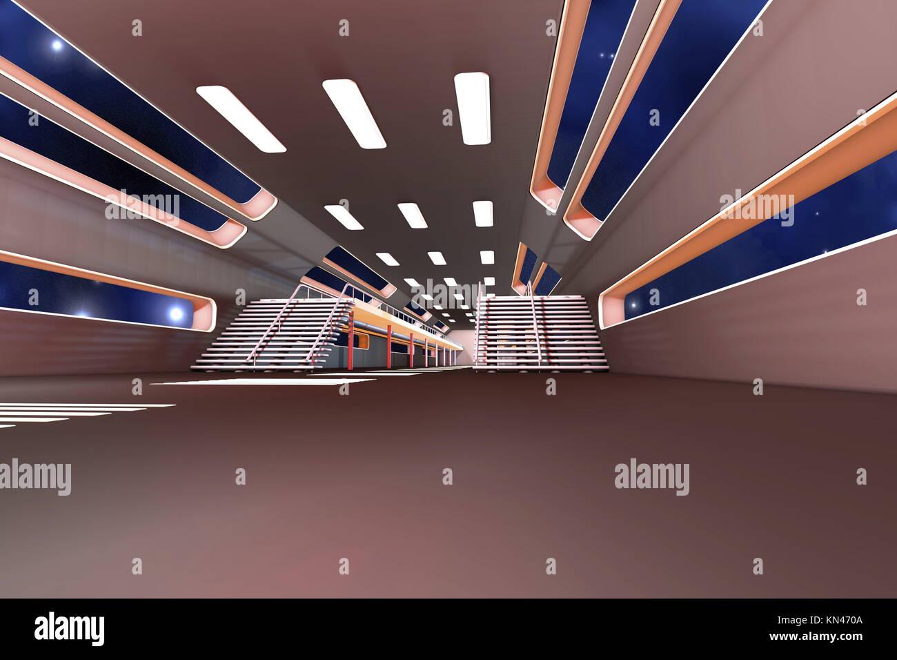 L'intérieur de la station spatiale. 3D Architecture de la visualisation. Photo Stock