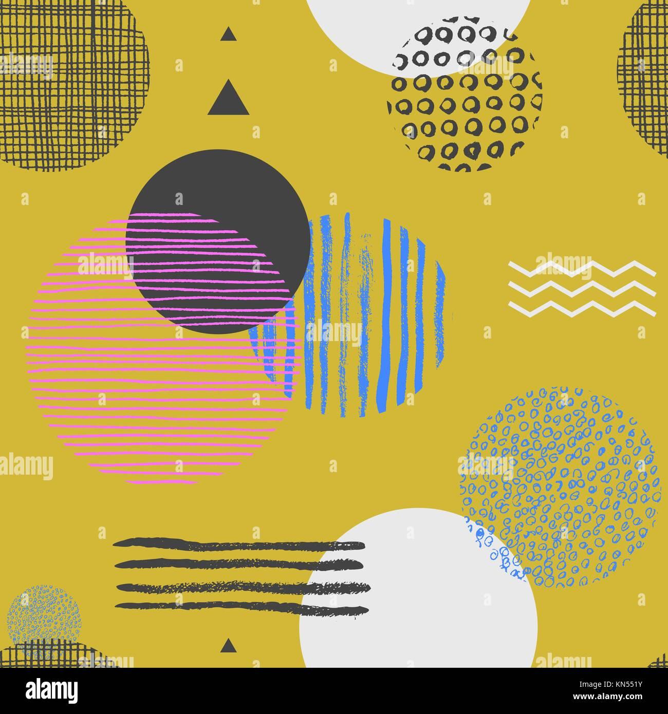 Papier Peint Jaune Moutarde transparente avec motif géométrique cercles, triangles et