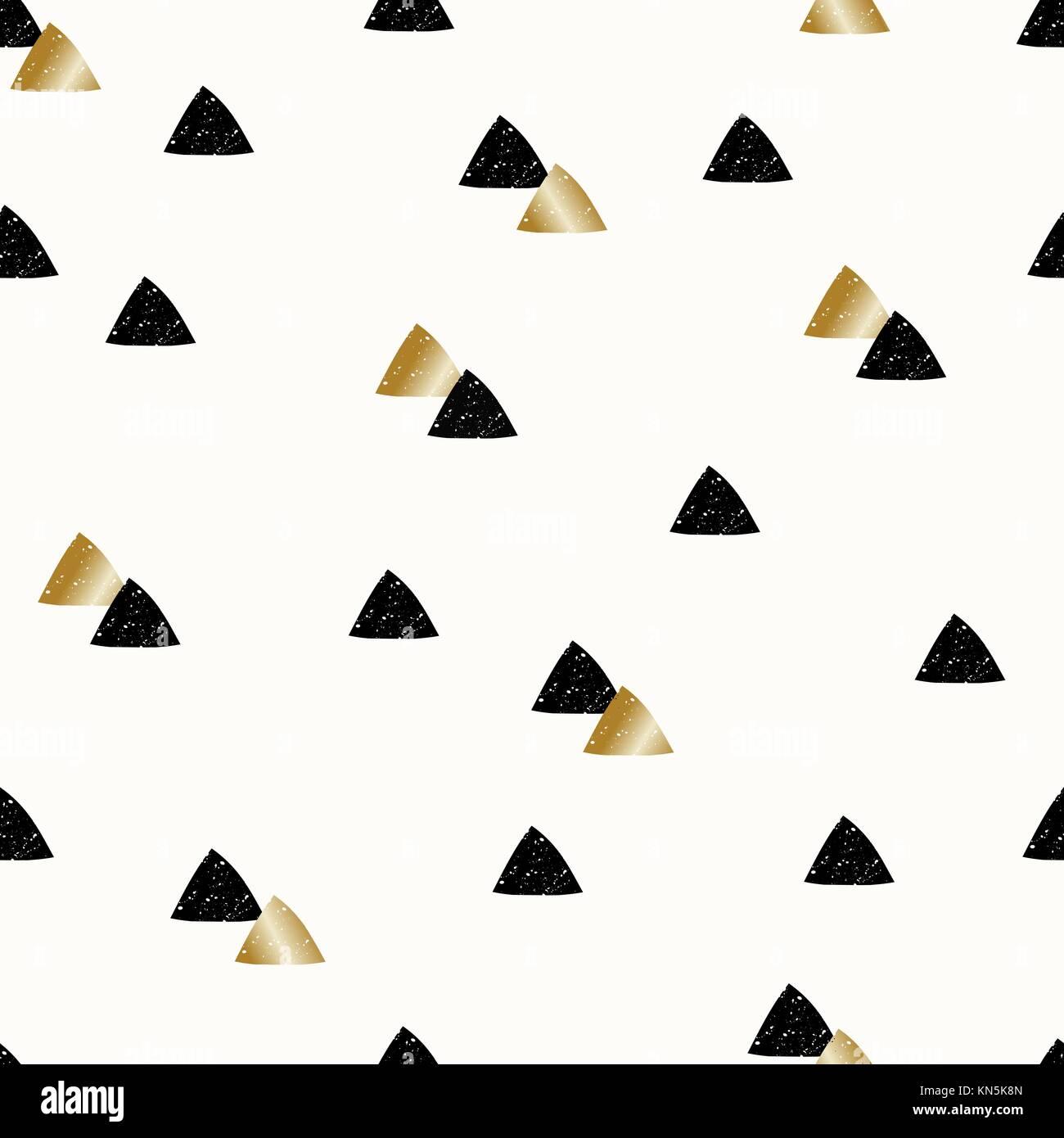 Un Motif Repetitif Avec Des Formes Triangle En Noir Et Or Sur Fond