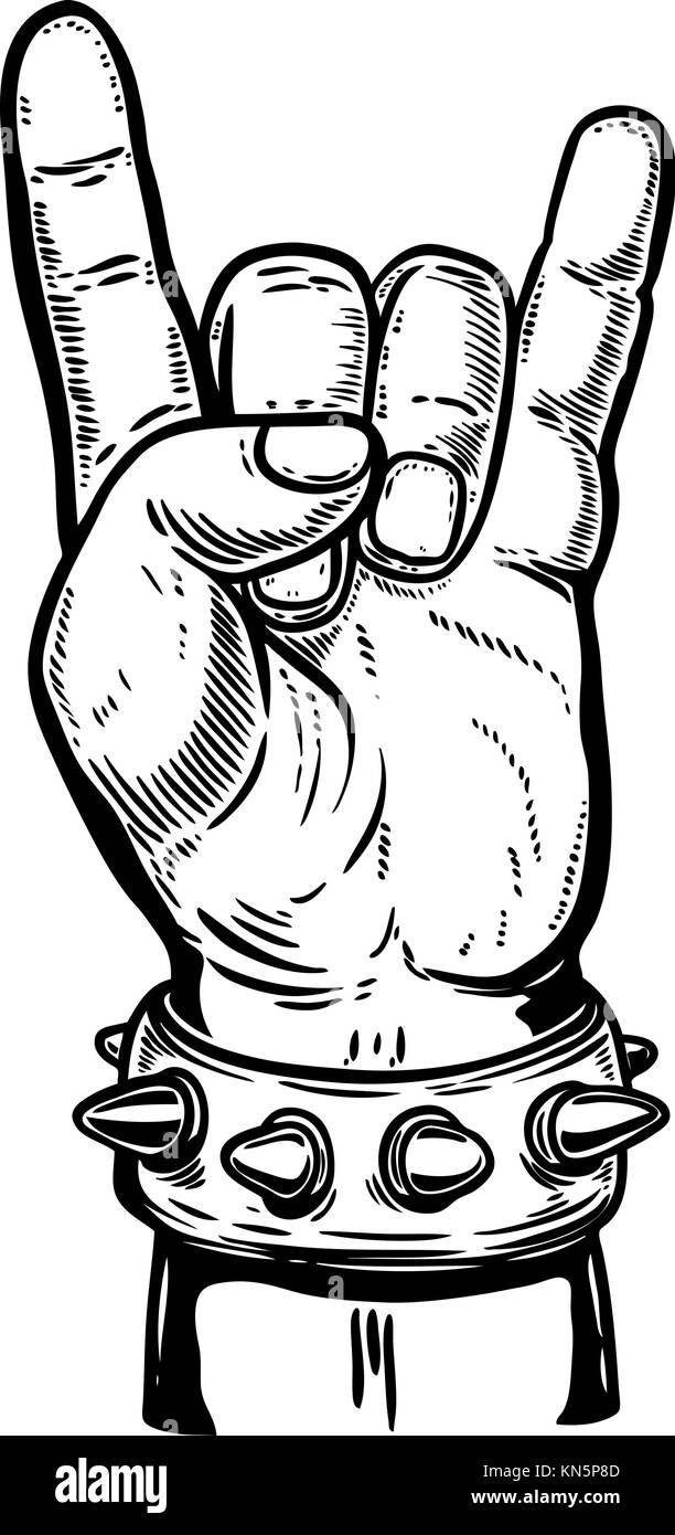 Hand Drawn Main Humaine Avec Rock And Roll Signe élément De