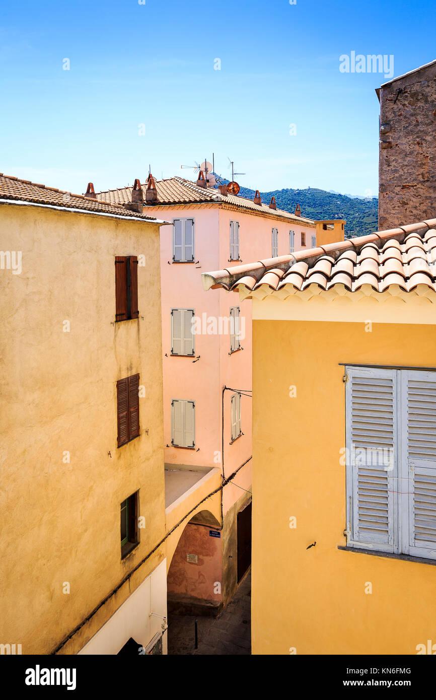 Ille Rousse Vieille Ville Centre, Corse Photo Stock
