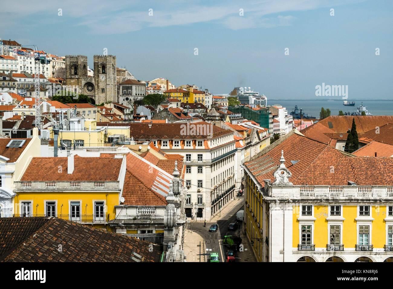 Vue panoramique du centre-ville de Lisbonne, Portugal. Photo Stock