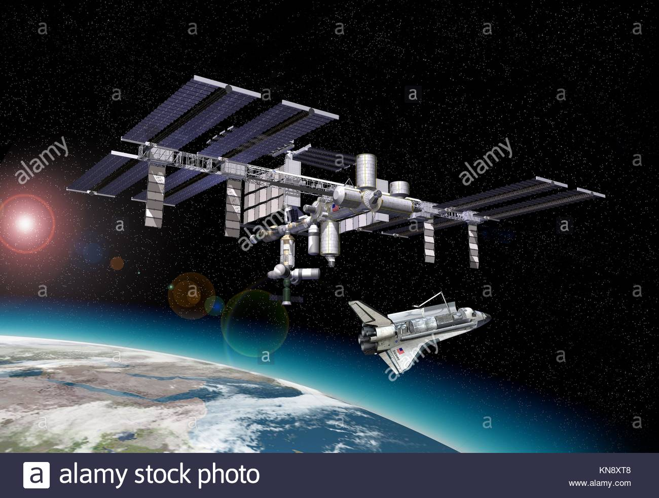 Station spatiale en orbite autour de la Terre, à l'aéroport. avec quelques effets starlights et une Photo Stock
