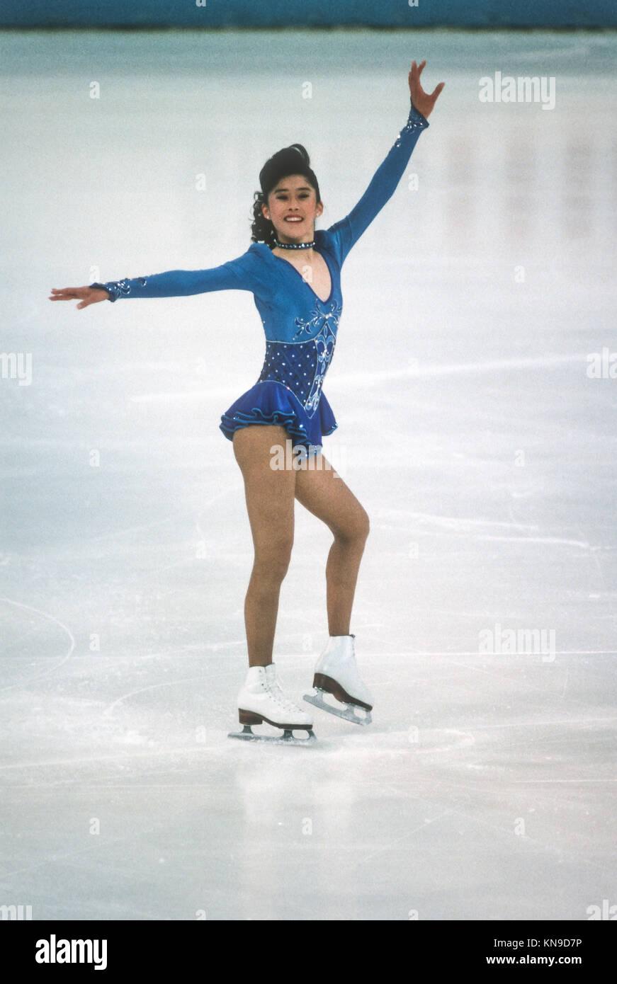 Kristi Yamaguchi (usa) à la compétition aux championnats du monde de 1989. Photo Stock