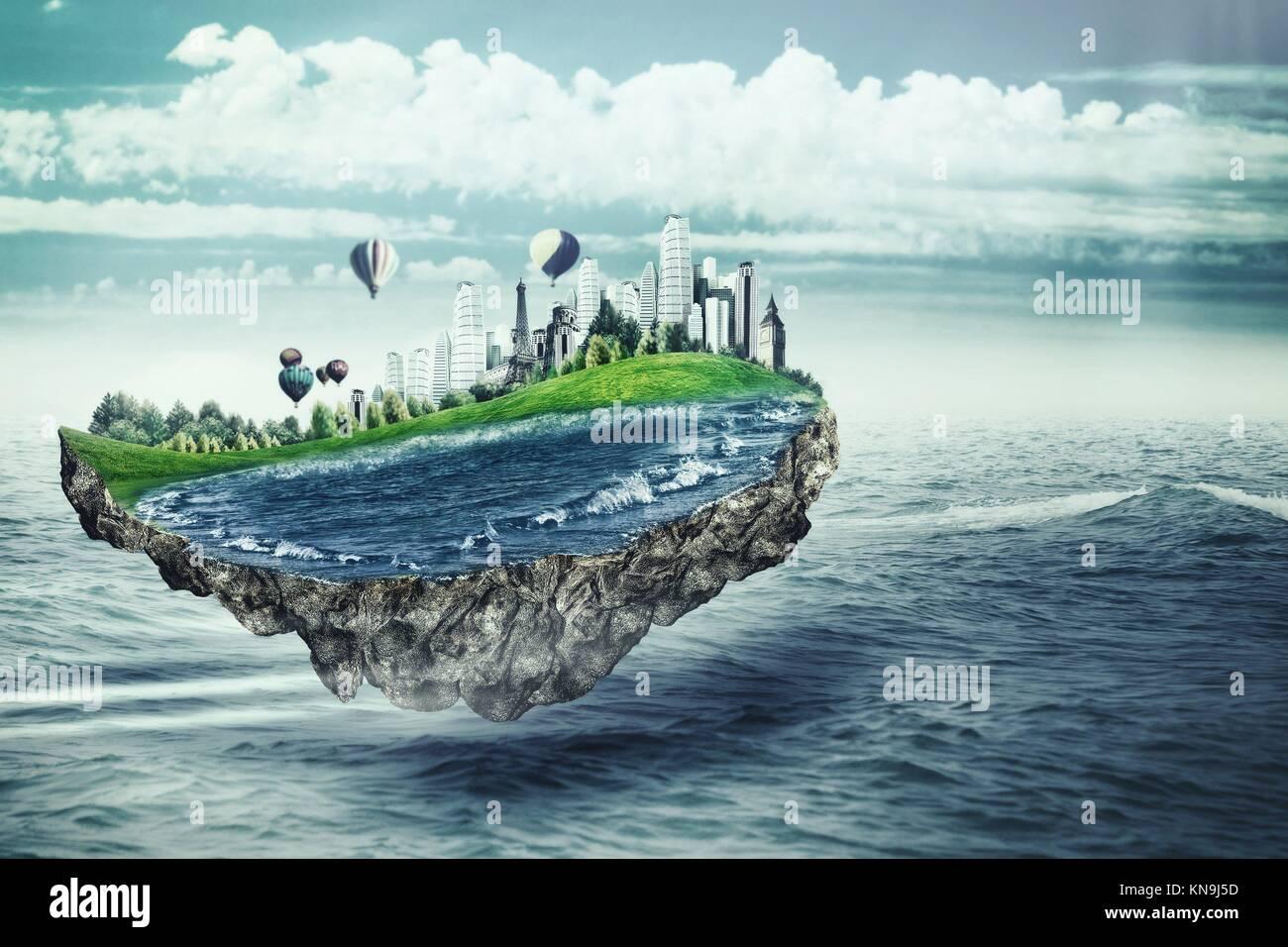 Ile Volante l'île volante. eco concept avec île fantastique sur la surface de la