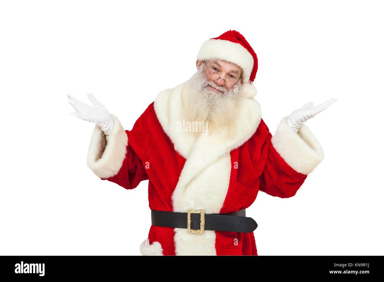 Père Noël avec du vrai beard montre ''Je suis désolé'' isolés. Photo Stock