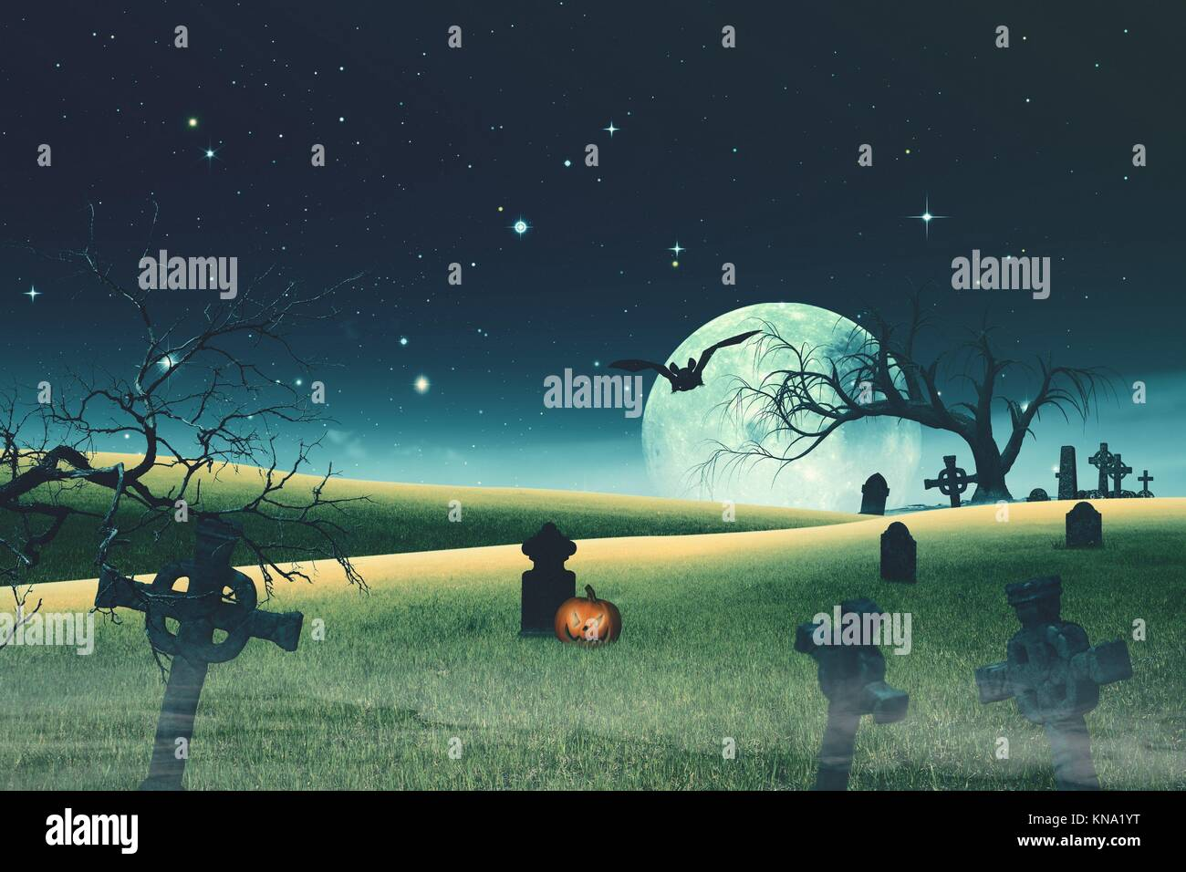 Origines de l'Halloween avec des citrouilles et cimetière fantasmagorique. Photo Stock