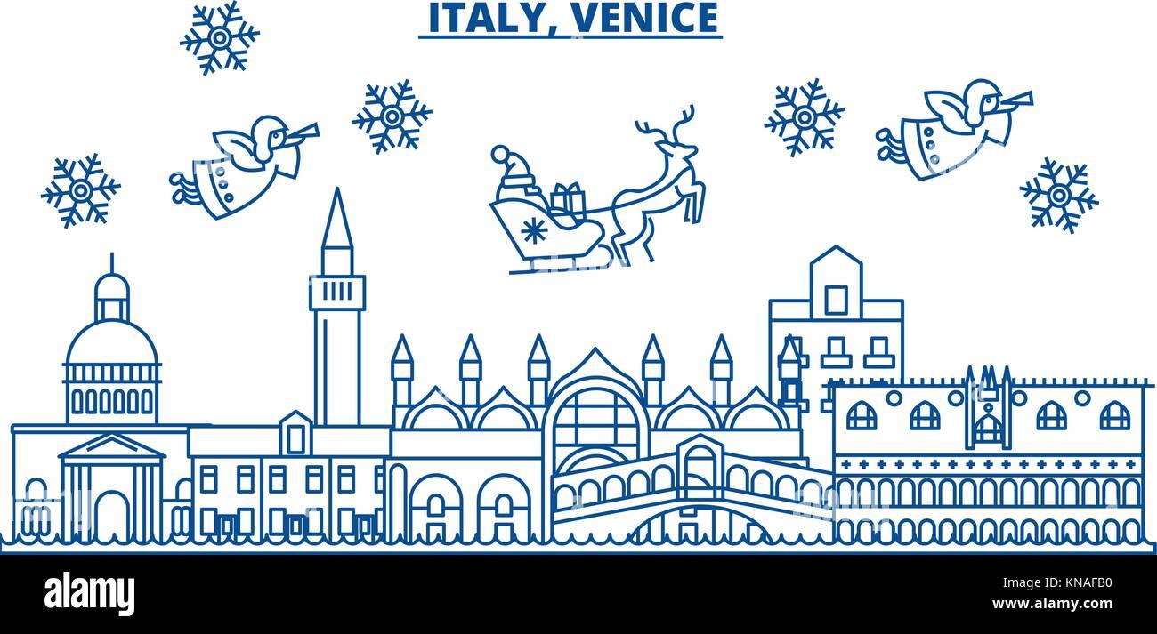 Carte Bonne Fete En Italien.Italie Venise Ville D Hiver Joyeux Noel Bonne Annee Banniere