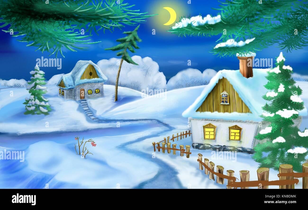 L 39 hiver dans un vieux village traditionnel de l 39 ukraine la veille de no l illustration faite - Village de noel dessin ...
