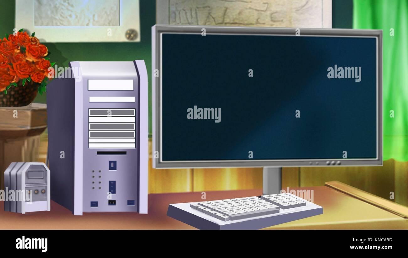 Peinture numérique de l'ordinateur de bureau. Photo Stock