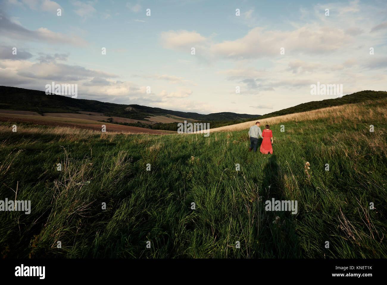 Vue arrière du couple holding hands en flânant dans les champs Photo Stock