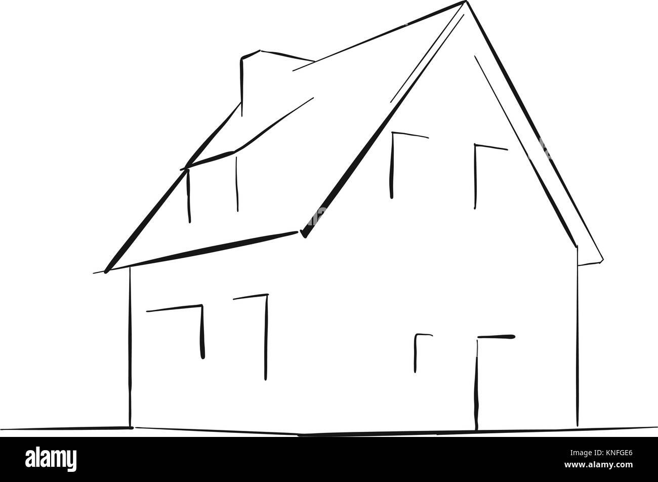 Maison de ville générique vector croquis version contour très simple mais le dessin dynamique