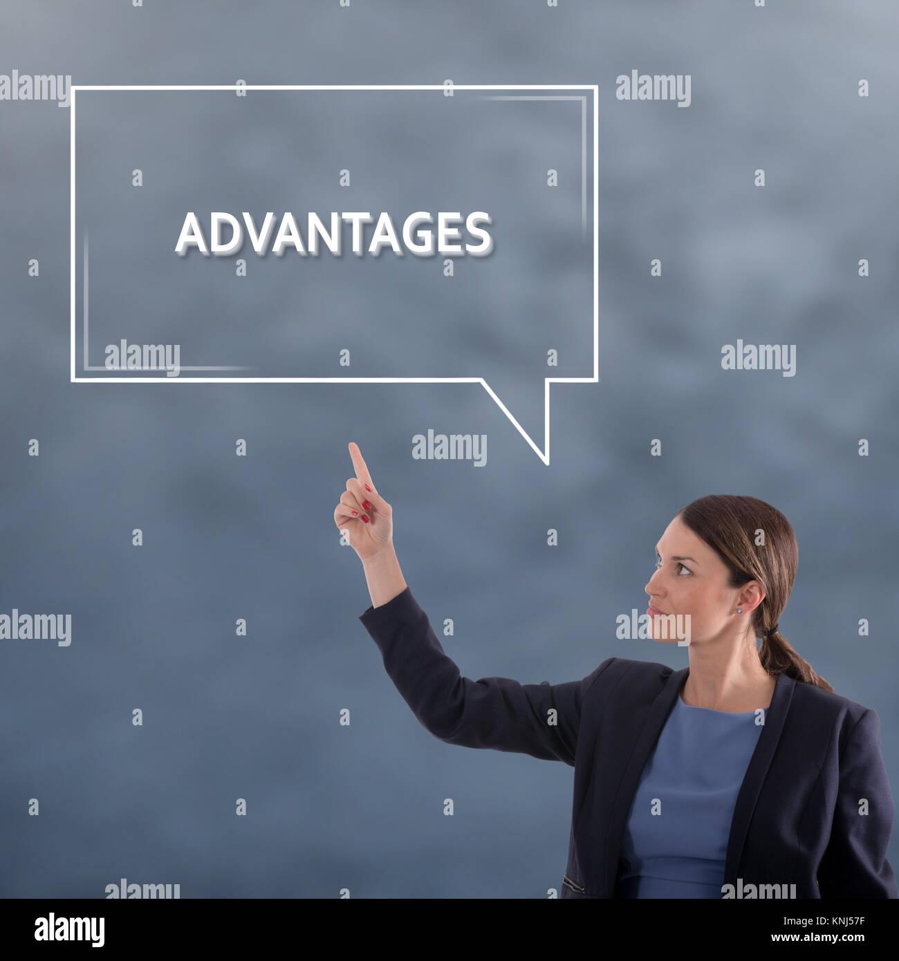 CONCEPT AVANTAGES Concept d'entreprise. Business Woman Concept Graphique Photo Stock