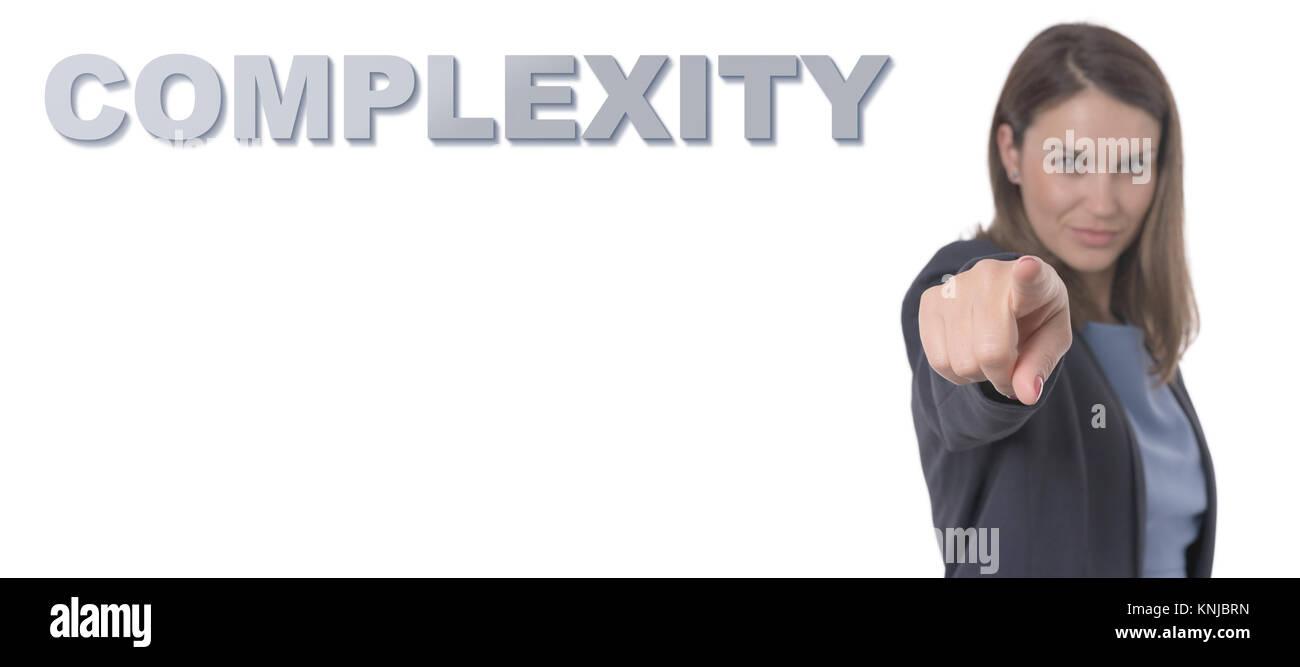 Femme d'affaires vers le concept d'entreprise de la complexité du texte. Photo Stock