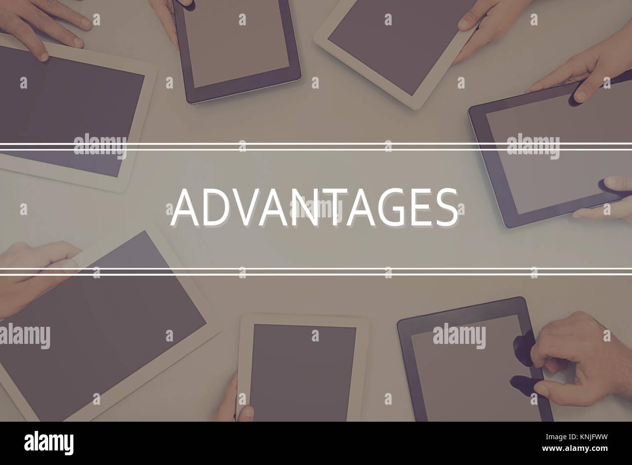 CONCEPT AVANTAGES Concept d'entreprise. Photo Stock