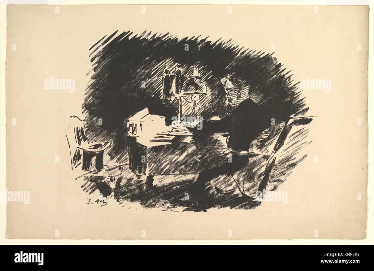 Une fois sur un morne minuit. Illustration pour le corbeau par Edgar Allan Poe. Series/portefeuille: le Corbeau; Photo Stock