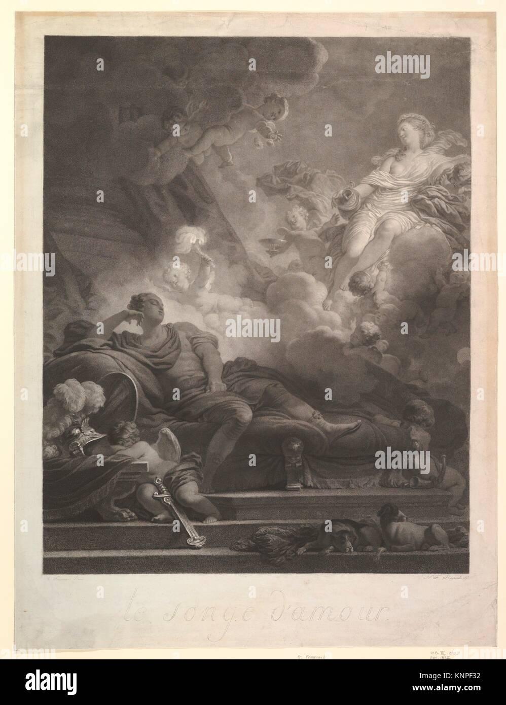 Le Songe d'amour. Artiste: Après Jean Honoré Fragonard (Grasse, France 1732-1806 Paris); Artist: gravée par Nicolas François Regnault (français, Paris Banque D'Images