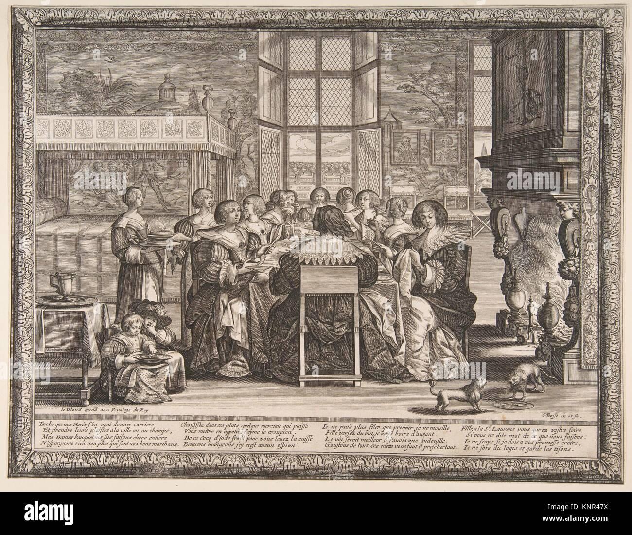 Épouses à la table durant l'absence de leurs maris. Artiste: Abraham Bosse (Français, Tours Photo Stock