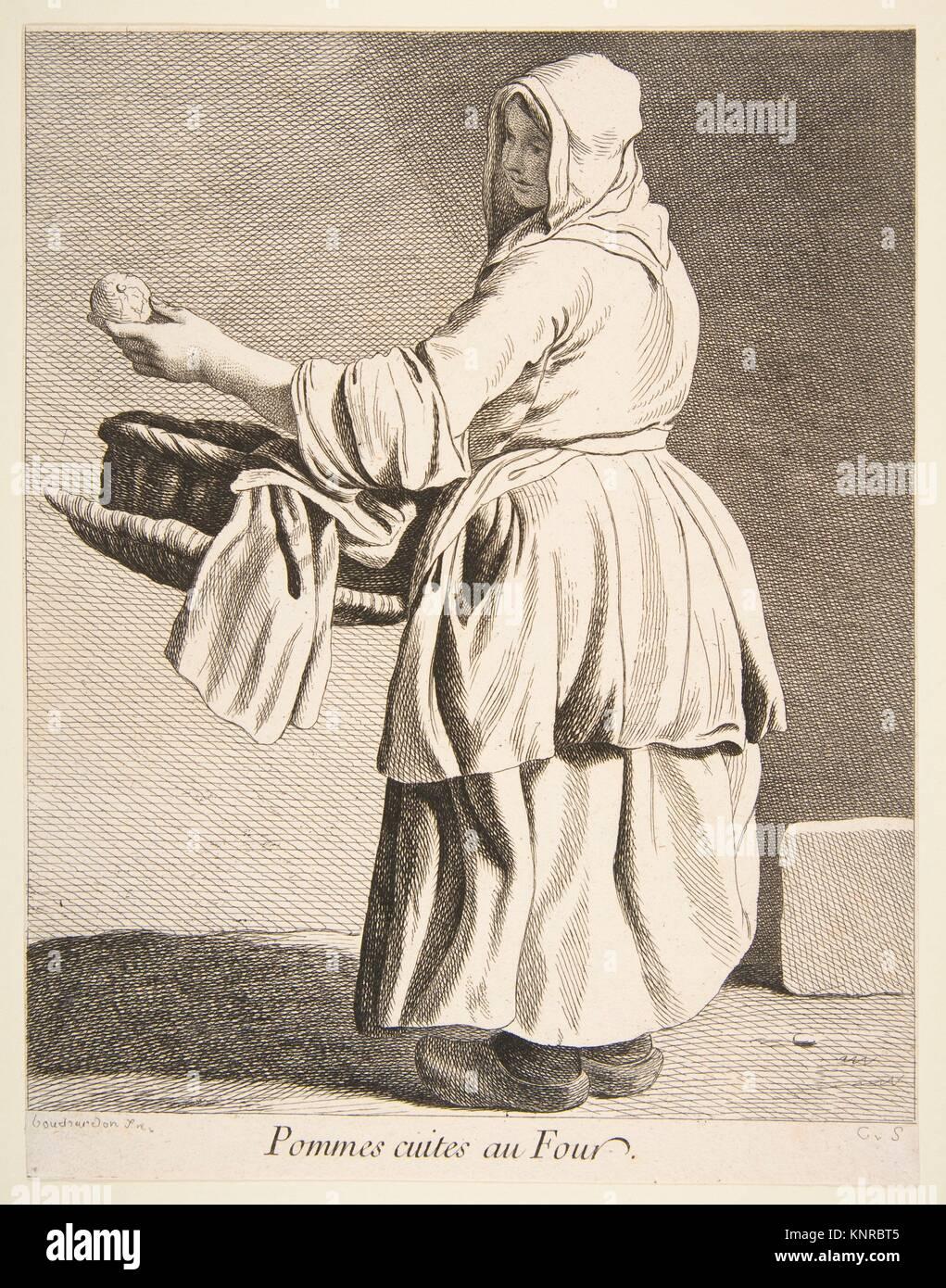 La pomme cuite vendeur. Series/portefeuille: Cris dans Paris: Troisième série; Artiste: Photo Stock